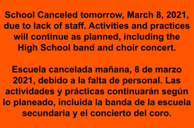School Canceled March 8, 2021