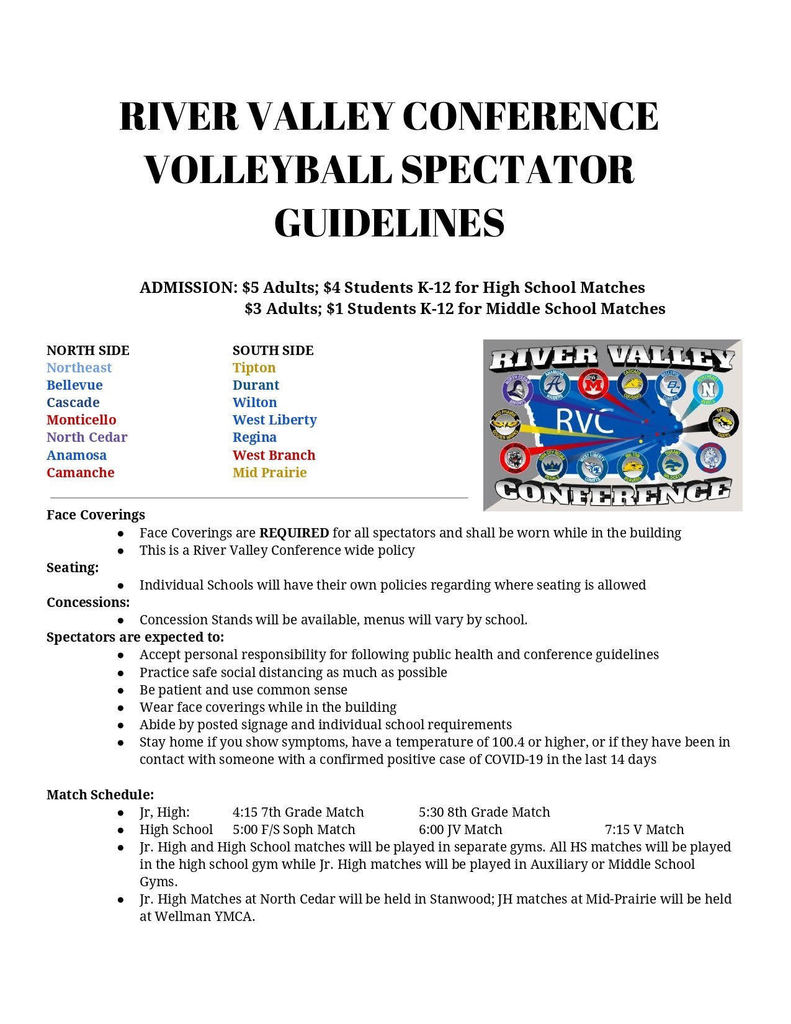 RVC Volleyball Spectator Guidelines